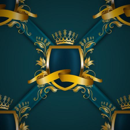 Golden royal shield with floral elements, ribbons, damask ornament on background for site, web design. Old frame, border, crown, realistic seamless pattern in vintage style for label, emblem, badge, logo