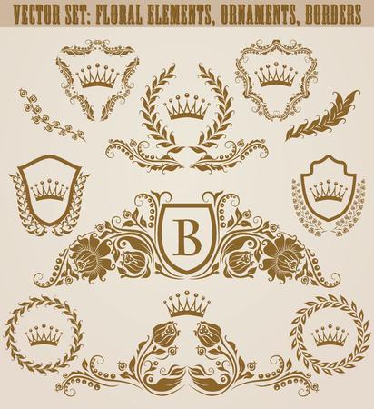 Set of golden monograms with floral elements for page, web design. Filigree royal shields, old frames, borders in vintage style for label, emblem, badge, logo, wedding card, invitation. Illustration. Illustration
