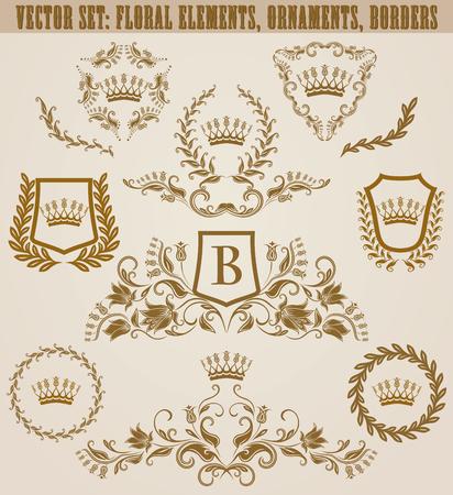 Set of golden monograms with floral elements for page, web design. Filigree royal shields, old frames, borders in vintage style for label, emblem, badge, logo, wedding card, invitation. Illustration. Иллюстрация