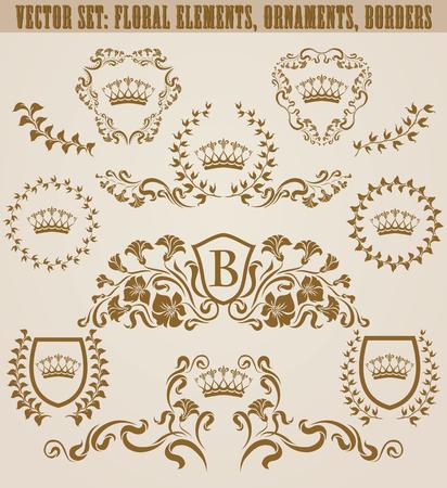 Ensemble de monogrammes dorés avec éléments floraux pour page, conception de sites Web. Boucliers royaux en filigrane, cadres anciens, bordures dans un style vintage pour étiquette, emblème, insigne, logo, carte de mariage, invitation. Illustration. Logo