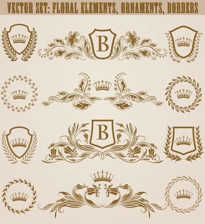 Set of golden monograms with floral elements for page, web design. Filigree royal shields, old frames, borders in vintage style for label, emblem, badge, logo, wedding card, invitation. Illustration.