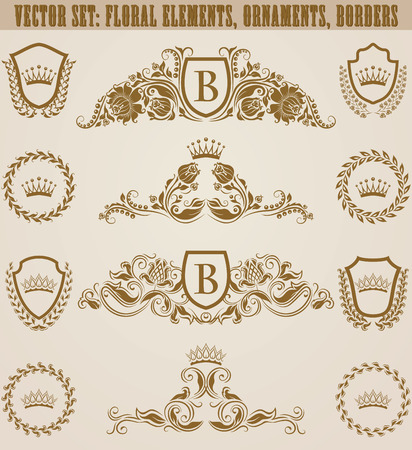 Set of golden monograms with floral elements for page, web design. Filigree royal shields, old frames, borders in vintage style for label, emblem, badge, logo, wedding card, invitation. Illustration. Logo