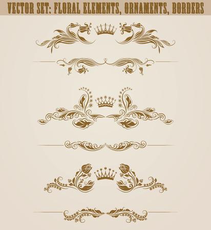 Set of filigree damask ornaments. Floral golden elements, crowns, borders, dividers, frames for web design. Page, certificate, diploma decoration in vintage style on background. Vector illustration