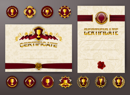 Set of elegant templates of diploma with lace ornament, ribbon, wax seal, drapery fabric, badges, place for text. Certificate of achievement, education, awards, winner. Vector illustration EPS 10. Vectores