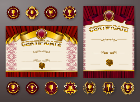 Set of elegant templates of diploma with lace ornament, ribbon, wax seal, drapery fabric, badges, place for text. Certificate of achievement, education, awards, winner. Vector illustration EPS 10. Illusztráció