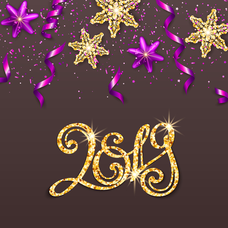 Gold inscription template 2019 on gray background. Calligraphy numbers, glitter confetti, star, snowflake, serpentine for Happy new year card, invitation, poster. Christmas festive vector illustration