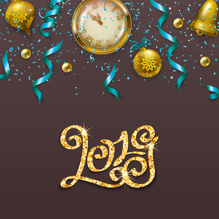 Gold inscription template 2019 on gray background. Calligraphy numbers, glitter confetti, clocks, serpentine for Happy new year card, invitation, poster. Christmas festive vector illustration