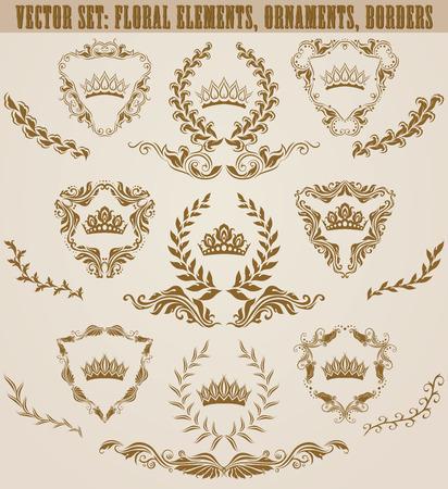 Set of golden monograms with floral elements for page, web design. Filigree royal shields, old frames, borders in vintage style for label, emblem, badge, logo, wedding card, invitation. Illustration.  イラスト・ベクター素材
