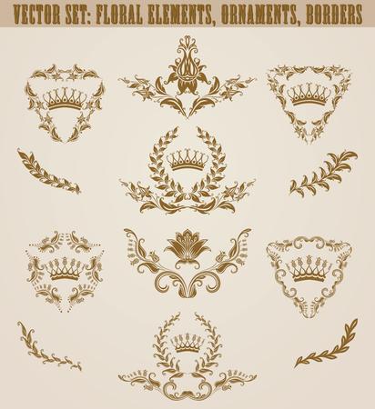 Set of golden monograms with floral elements for page, web design. Filigree royal shields, old frames, borders in vintage style for label, emblem, badge,  wedding card, invitation. Illustration.