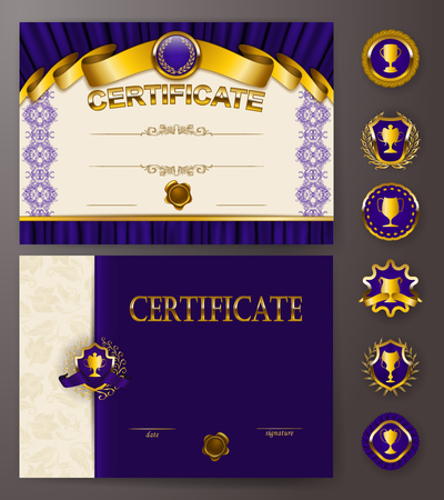 Set of elegant templates of diploma with lace ornament, ribbon, wax seal, drapery fabric, badges, place for text. Certificate of achievement, education, awards, winner. Vector illustration EPS 10. Illustration