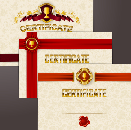 Set of elegant templates of diploma lace ornament, ribbons, wax seals, shields, badges, champions cups, place for text. Certificate of achievement, education, award, winner. Vector illustration.