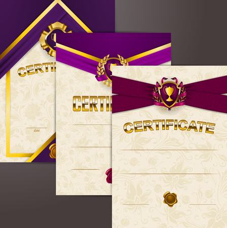 Set of elegant templates of diploma with lace ornament, ribbons, wax seals, shields, badges, champions cups, place for text. Certificate of achievement, education, award, winner. Vector illustration.