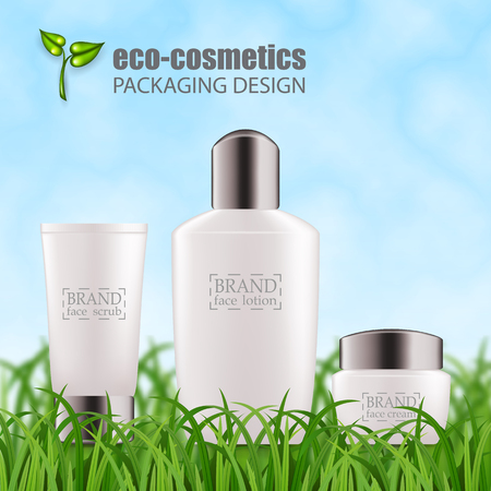 Set of realistic white glass bottles, silver cap for eco-cosmetic. Empty package for skincare cosmetic - face, eye cream jar, serum, gel. Blank template, vector mockup for ads, flyer, gift, promo card