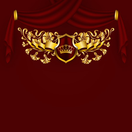 Royal vector background with floral ornament, shield, gold crown, ribbon, blazon, place for text in vintage style. Floral filigree element, drapery texture for luxury vip card, menu, page, web design