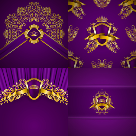Set of luxury ornate backgrounds in vintage style. Elegant gold frame with floral elements, blazon, filigree ornament, gold crown, shield, ribbon, place for text, purple texture. Vector illustration