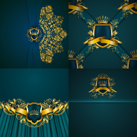 Set of luxury ornate backgrounds in vintage style. Elegant gold frame with floral element, blazon, filigree ornament, gold crown, shield, ribbon, place for text, turquoise texture. Vector illustration Illustration