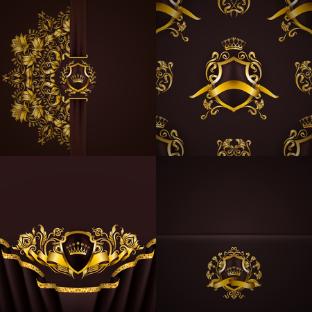 Set of luxury ornate backgrounds in vintage style. Elegant gold frame with floral elements, blazon, filigree ornament, gold crown, shield, ribbon, place for text, brown texture. Vector illustration Illustration
