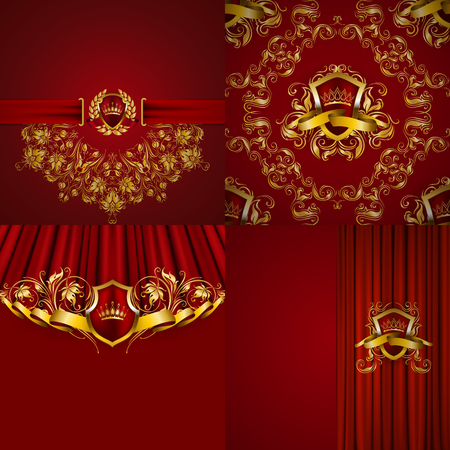 Set of luxury ornate backgrounds in vintage style. Elegant gold frame with floral elements, blazon, filigree ornament, gold crown, shield, ribbon, place for text, red texture. Vector illustration