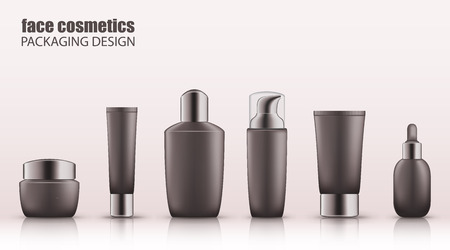 Set of realistic gray bottles with silver cap for face cosmetics. Empty package for skincare cosmetic - cream jar, emulsion, lotion, tonic. Blank template, vector mockup for broshure, ads, magazine