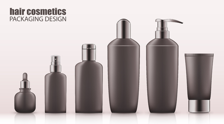 Set of realistic gray bottles with silver cap for hair cosmetics. Empty package for haircare cosmetic - shampoo, conditioner, mask, spray. Blank template, vector mockup for broshure, ads, magazine.