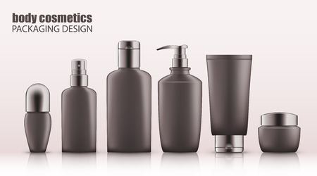 Set of realistic gray bottles with silver cap for body cosmetics. Empty package for skincare cosmetic - body deodorant, spray, lotion, cream, gel. Blank template, vector mockup for broshure, magazine