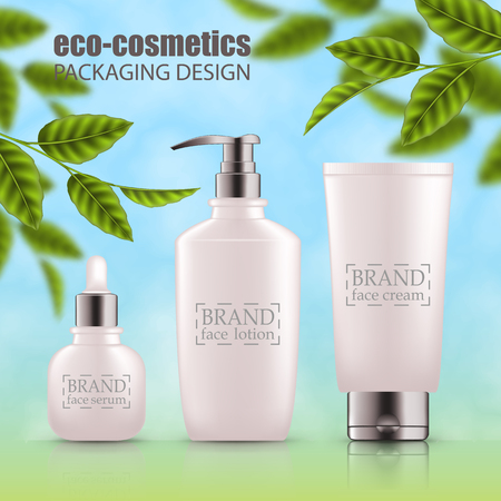 Set of realistic 3d white bottles with silver cap. Empty package for skincare cosmetic - face oil, serum,wash, gel cleanser, scrub. Eco-cosmetic blank template, vector mockup for broshure, magazine