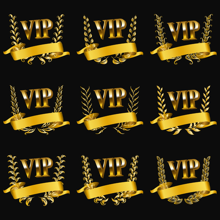 Set of gold vip monograms for graphic design on black background. Elegant graceful frame, filigree border, golden ribbons in vintage style for wedding card, invitation, logo, icon. Vector illustration  イラスト・ベクター素材