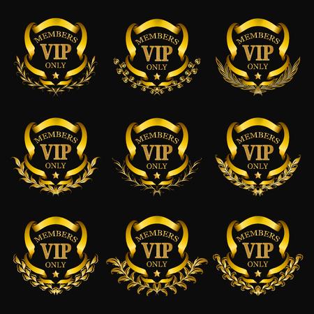 Set of gold vip monograms for graphic design on black background. Elegant graceful frame, filigree border, laurel wreath, ribbons in vintage style for wedding card, logo, icon. Vector illustration.