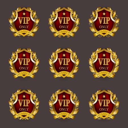 Set of gold vip monograms for graphic design on gray background. Elegant graceful frame, filigree border, laurel wreath, ribbons in retro style for invitation, card, logo, icon. Vector illustration