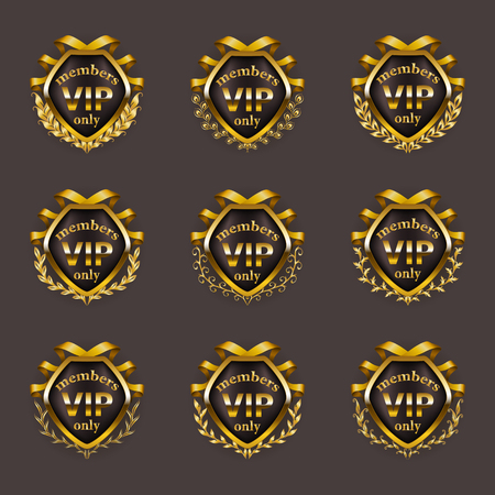 Set of gold vip monograms for graphic design on gray background. Elegant graceful border, refined frame, laurel wreath, ribbons in vintage style for invitation, card, logo, icon. Vector illustration