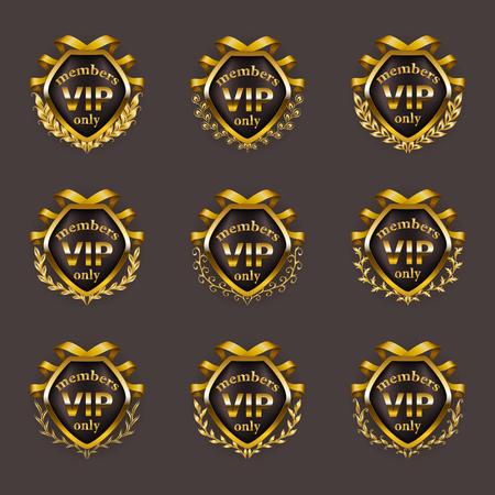 Set of gold vip monograms for graphic design on gray background. Elegant graceful border, refined frame, laurel wreath, ribbons in vintage style for invitation, card, logo, icon. Vector illustration