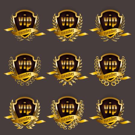 Set of gold vip monograms for graphic design on gray background. Elegant graceful frame, filigree border, laurel wreath, ribbons in vintage style for invitation, card, logo, icon. Vector illustration