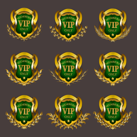 Set of gold vip monograms for graphic design on gray background. Elegant graceful frame, filigree border, laurel wreath, shields in retro style for invitation, card, logo, icon. Vector illustration