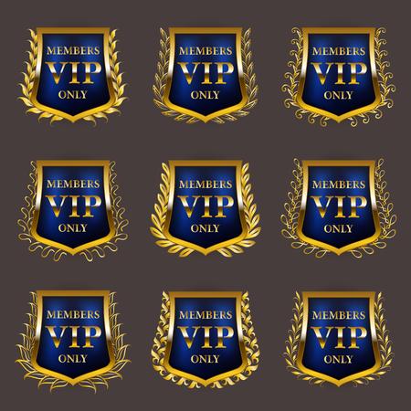 Set of gold vip monograms for graphic design on gray background. Elegant graceful frame, filigree border, laurel wreath, shields in retro style for invitation, card, logo, icon. Vector illustration