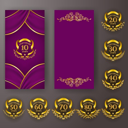 Set of anniversary card, invitation with laurel wreath, number. Decorative gold emblem of jubilee on magenta background. Refined element, frame, border, icon, page design, retro style