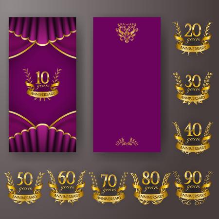 Set of anniversary card, invitation with laurel wreath, number. Decorative gold emblem of jubilee on magenta background. Filigree element, frame, border, icon, page design, vintage style