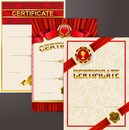Set of elegant templates of diploma lace ornament, ribbon, wax seal, medal, gold laurel wreath, drapery fabric, place for text. Certificate of achievement, education, award, winner Vector illustration Illustration