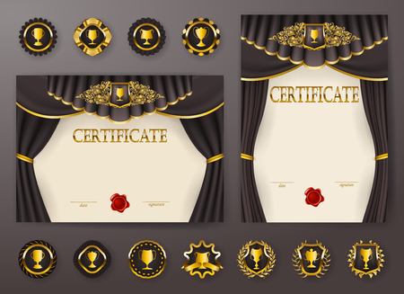 Set of elegant templates of diploma with lace filigree ornament, ribbon, wax seal, drapery fabric, badges, place for text. Certificate of achievement, education, awards, winner. Vector illustration. Vectores