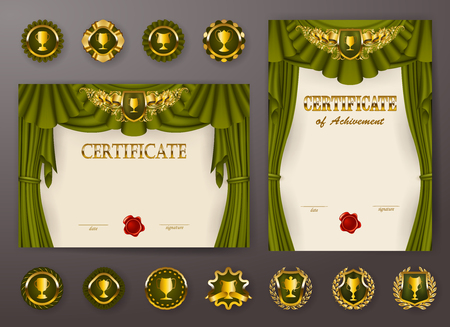 Set of elegant templates of diploma with lace filigree pattern, ribbon, wax seal, drapery fabric, badges, place for text. Certificate of achievement, education, awards, winner. Vector illustration.