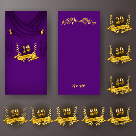 Set of anniversary card, invitation with laurel wreath, numbers. Decorative gold emblem of jubilee on purple background. Filigree element, frame, border, icon, page design, vintage style