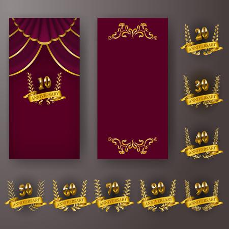 Set of vip anniversary card, invitation with laurel wreath, number. Decorative gold emblem of jubilee on maroon background. Refined element, frame, border, icon, page design, retro style Vektoros illusztráció