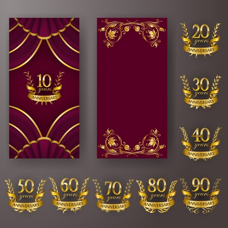Set of vip anniversary card, invitation with laurel wreath, number. Decorative gold emblem of jubilee on maroon background. Refined element, frame, border, icon,  page design, retro style