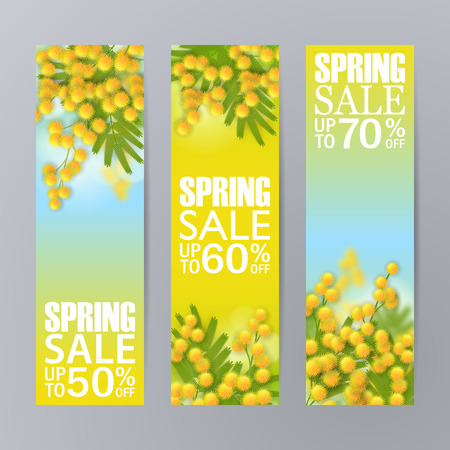 Set of spring sale horizontal banners with yellow mimosa. 3d Realistic branches, green leafs. Blank template, vector mockup for site banners, ads, booklet, poster, flyer. Discounts up to 50%, 60% 70%.