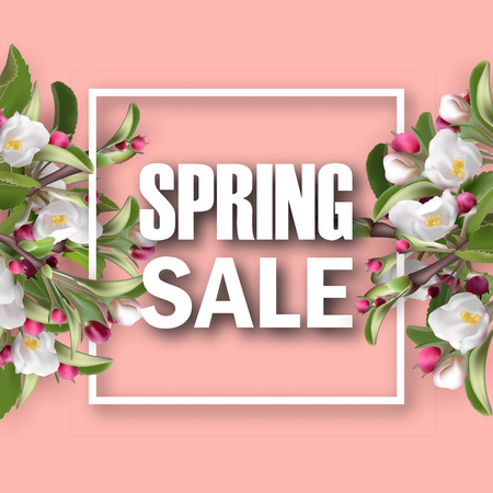 Spring sale square banner with flowering branches. 3d Realistic green leafs, pink fresh flowers. Blank template, vector mockup for site banner, ads, booklet, poster, flyer. Special discounts, offers