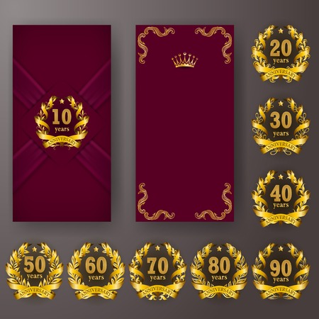 Set of anniversary card, invitation with laurel wreath, number. Decorative gold emblem of jubilee on maroon background. Filigree element, frame, border, icon, page design, retro style Illustration