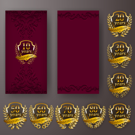 Set of anniversary invitation with laurel wreath, number. Decorative gold emblem of jubilee on maroon background. Filigree volume elements, frame, border, icon, page design, retro style Vector Illustratie