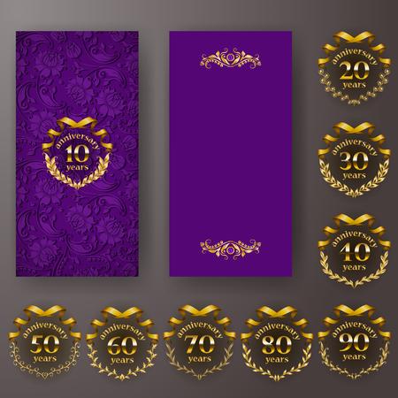 Set of anniversary card, invitation with laurel wreath, number. Decorative gold emblem of jubilee on purple background. Filigree element, frame, border, icon,  page design,vintage style