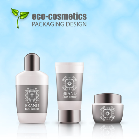 Set of realistic white bottle, tube, silver cap for eco-cosmetic with line logo. Empty package for skincare cosmetic - face cream jar, emulsion, lotion. Blank template, vector mockup for ads, magazine Illustration