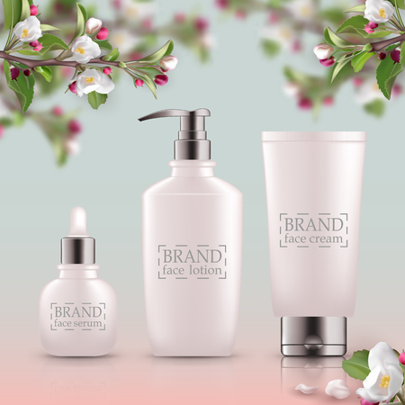 Set of realistic 3d white bottles with silver cap. Empty package for skin care cosmetic - face oil, serum,wash, gel cleanser, scrub. Eco-cosmetic blank template, vector mockup for broshure, magazine Illustration
