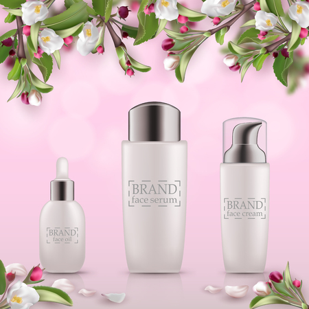 Set of realistic 3d white bottles with silver cap. Empty package for skincare cosmetic - face oil, eye cream jar, emulsion, lotion. Eco-cosmetic blank template, vector mockup for broshure, magazine
